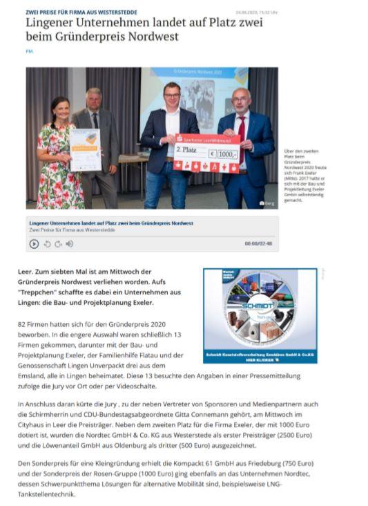 Gründerpreis Nordwest 2020 Presseberichte